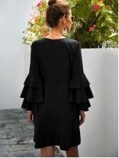 V Neck Empire Waisted Black Long Sleeve Dress