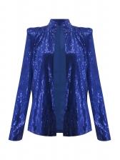 Stand Collar Long Sleeve Sequin Coat