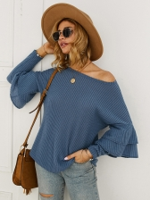 Crew Neck Ruffles Sleeve Solid Color Casual T Shirt