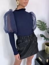 Perspective Puff Sleeve Mock Neck Ladies Blouse Design