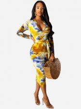 Slim Fitted Graffiti Print Long Sleeve Bodycon Dress