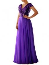V Neck Chiffon Patchwork Sequin Evening Dress