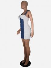 Chic Contrast Color Tank Sleeveless Sheath Dress