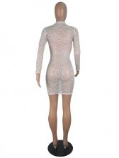 See Through Mini Long Sleeve Lace Dress