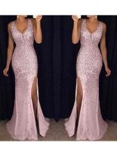 Split Hem Sleeve Sequin Evening Dress For Women
