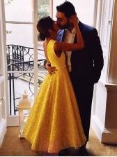 Large Hem Sleeveless Lace Evening Dress