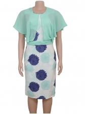 Chiffon Patchwork Short Sleeve Dress For African Women
