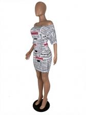 Stylish Newspaper Print Short Sleeve Casual Dresses