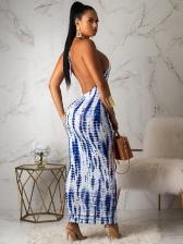 Backless Print Ladies Halter Maxi Dress