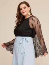 Lace Panel Loose Black Plus Size Blouses
