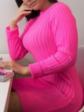 Ribbing Solid Knitting Long Sleeve Dress