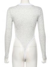 Minimalist Solid Crew Neck Tight Long Sleeve Bodysuit