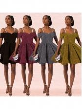 Fashion Straps Short Sleeve Glitter Cocktail Dress