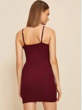 Single-Breasted Red Sleeveless Sheath Dress