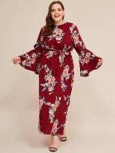 Flare Sleeve Floral Tie-Wrap Plus Size Maxi Dresses