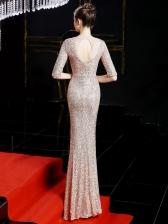 Elegant Fishtail Hem Solid Short Sleeve Sequin Evening Dress