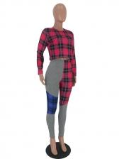 Patchwork Tartan Cropped 2 Piece Pants Set