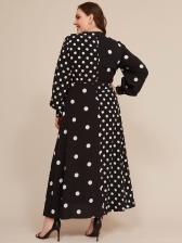 V Neck Polka Dot Tie-Wrap Plus Size Maxi Dress