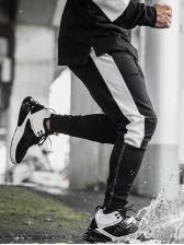 Sporty Contrast Color Breathable Male Pants