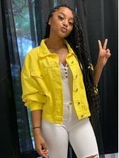 Chic Turndown Collar Yellow Denim Jacket