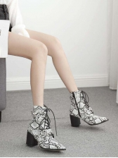 Bandage Buckle Strap Chunky Heel Ankle Snakeskin Boots