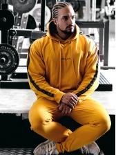 Leisure Side Letter Print Hooded Fitness Wear