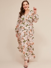 V Neck Leaves Printed Tie-Wrap Plus Size Maxi Dress