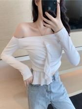 Off The Shoulder Ruffles Detail Solid Color Cotton T Shirt