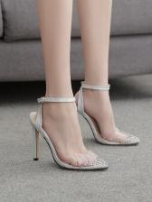 Transparent Rhinestone Cross Buck Strap Womens Sandals