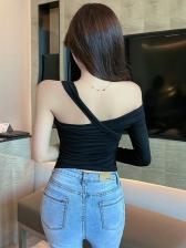 Pure Color Single Sleeve Black Cotton T Shirt
