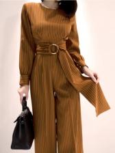 OL Style Striped Long Sleeve Wide Leg Jumpsuit