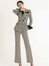 Classic Houndstooth Lapel Collar Ladies Trouser Suits