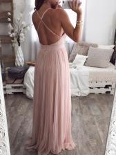 Deep V Neck Gauze Sleeveless Pink Evening Dress