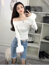 Off The Shoulder Plush Cuff Knitted Short T Shirt