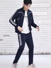 Casual Side Striped Print Workout Wear