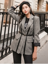 Office Ladies Two Buttons Gray Ladies Blazer With Belt