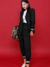 New Arrival Patchwork Black 2 Piece Suit For Women