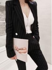 Office Ladies Striped 2 Piece Skinny Pants Suit Women