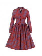 Vintage Style Fitted Large Hem Ladies Dress