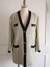 Autumn Tweed Plaid Pattern Pockets Ladies Coats
