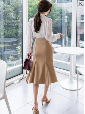 Tie Neck Blouse With High Waist Solid Half Skirt