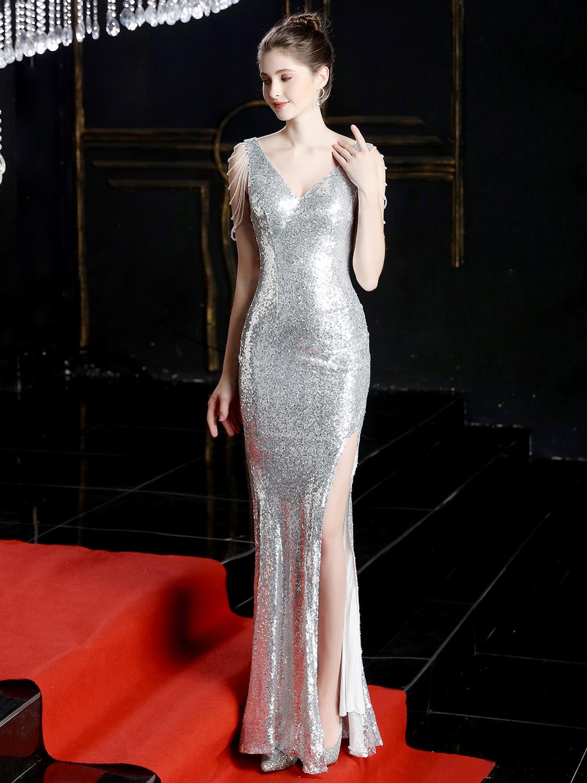 Boutique High Split Hem Sequin Sleeveless Prom Dress