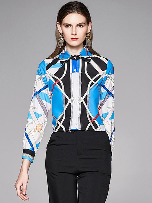 Ol Style Color Block Printed Ladies Long Sleeve Blouse