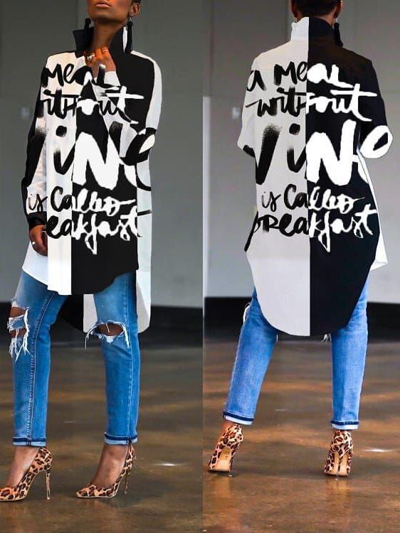 Chic Printed Asymmetric Long Sleeve Shirts