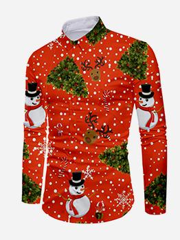 Christmas Snowman Print Long Sleeve Shirts