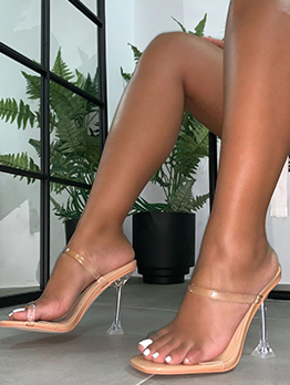Summer Transparent Belt Toe Loop Clear Heel Sandal