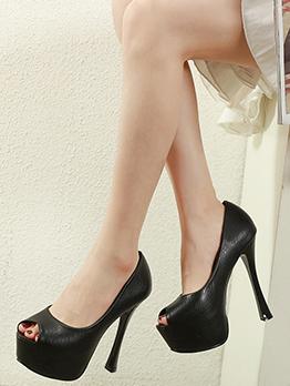 Pu Solid Peep Toe Platform Heels