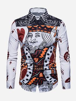 Poker Figure Print Shirts For Men