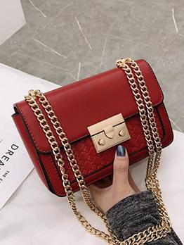 Solid Color Woven Rectangle Chain Shoulder Bag