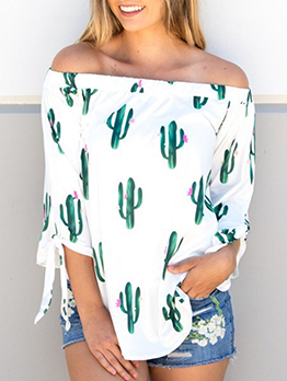 Cactus Printed Loose Off Shoulder Blouse